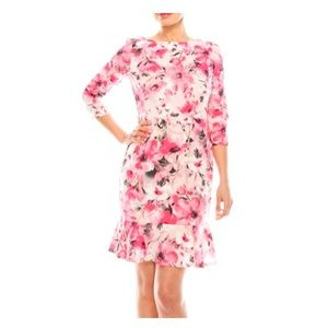 Nine West Tutu Pink Floral Print Sheath Dress